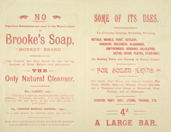 Advert For Brooke's Soap reverse